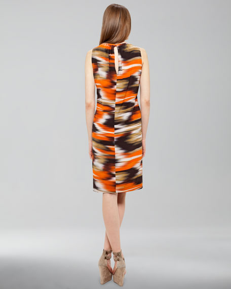 Ikat-Print Silk Dress