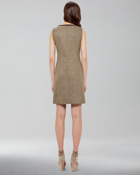 Leather-Trim Tweed Dress