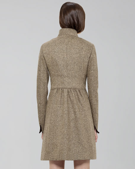 Contrast-Collar Princess Coat