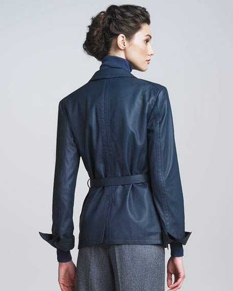 Cervo Leather Jacket, Blue
