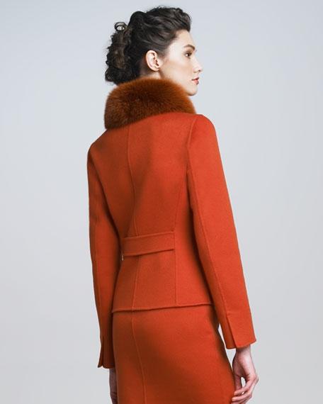 Fox-Collar Cashmere Jacket