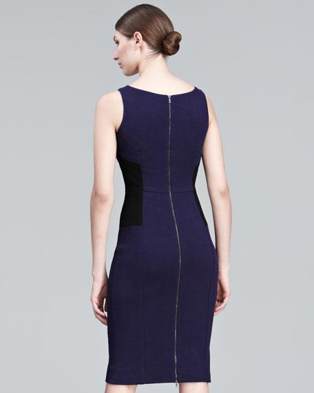 Contrast-Waist Sheath Dress
