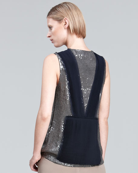 Sequin Top With Pleated Chiffon