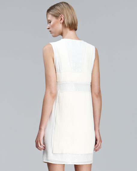 Sequined Dress with Pleated Chiffon