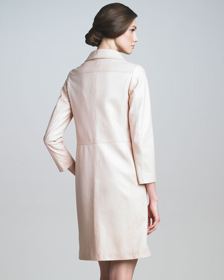 Three-Quarter-Sleeve Leather Coat