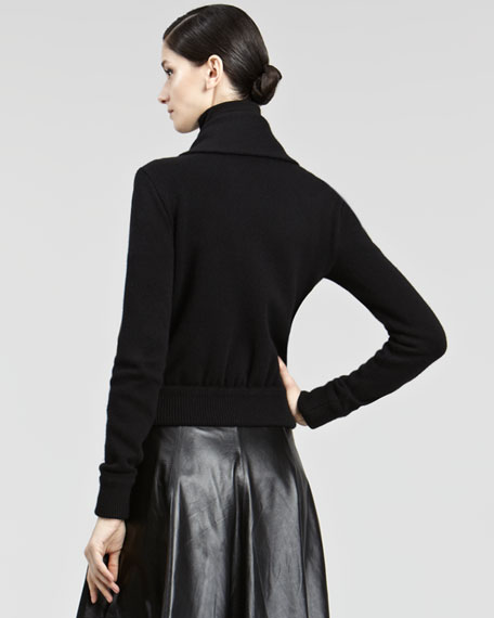 Knit-Collar Leather Jacket