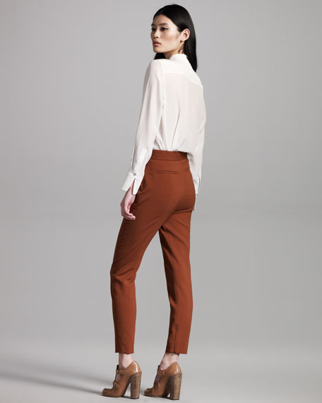 High-Waist Wool Pants, Brown