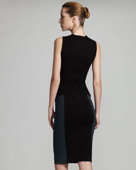 Two-Tone Peplum Dress