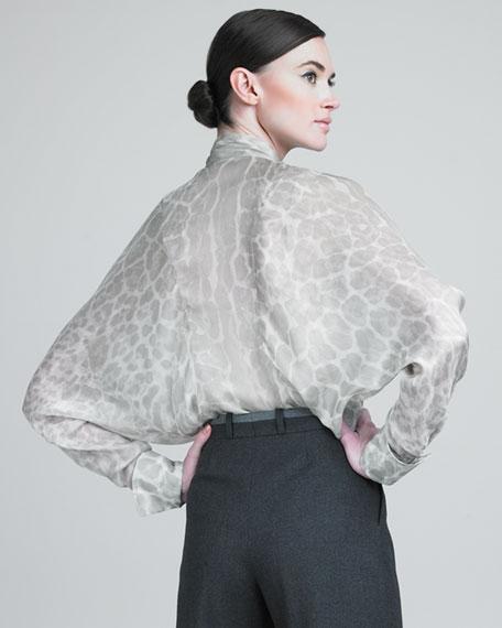 Leopard-Print Tie-Neck Blouse