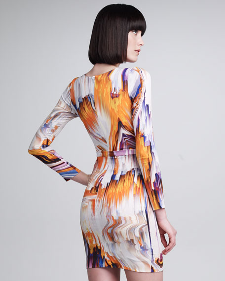 Long-Sleeve Oil Slick Printed Dress