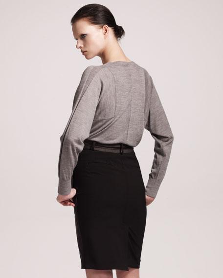 Leather Paneled Pencil Skirt
