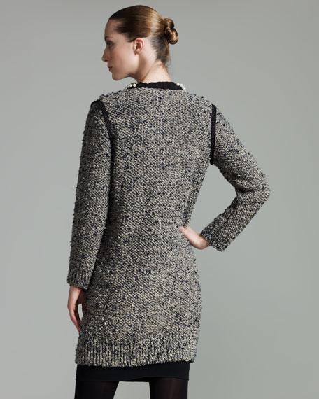 Pearl-Neck Tweed Coat