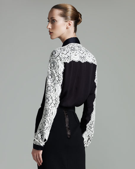 Lace-Overlay Blouse