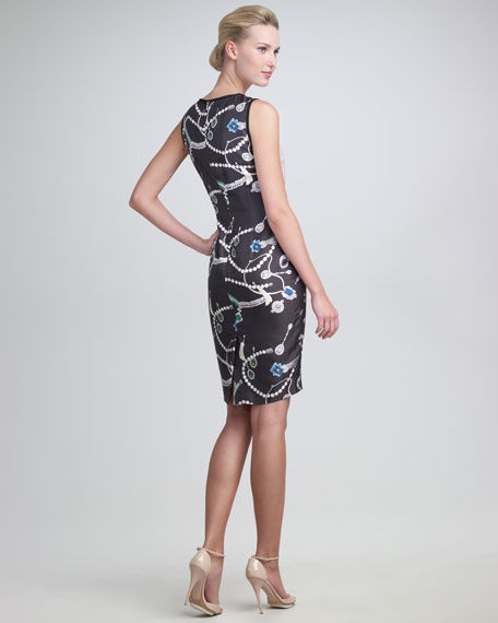 Jewelry-Print Satin Dress