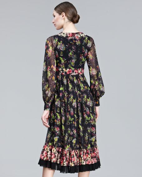 Mixed-Print Long-Sleeve Dress