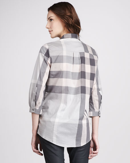 Exploded-Check Tunic, Pale Gray