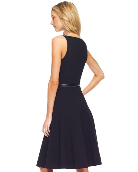 Square-Neck Belted A-Line Dress