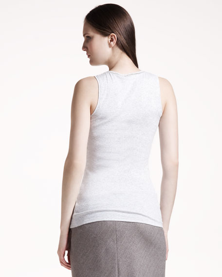 Stretch-Rib Tank, Melange Pearl Gray