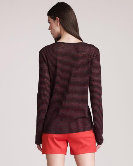 Striped Linen Shirt, Ink/Paprika