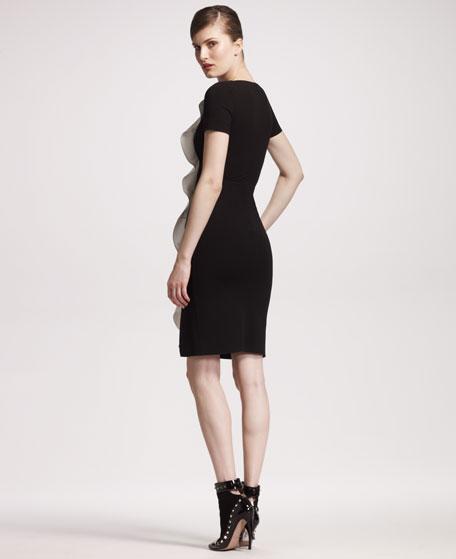 Side-Ruffle Jersey Dress