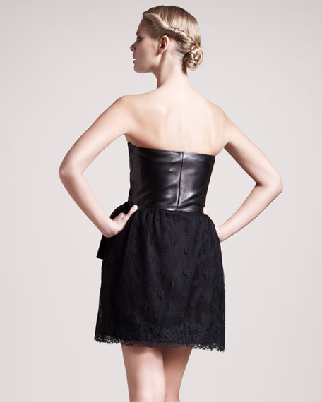 Leather & Lace Sweetheart Dress