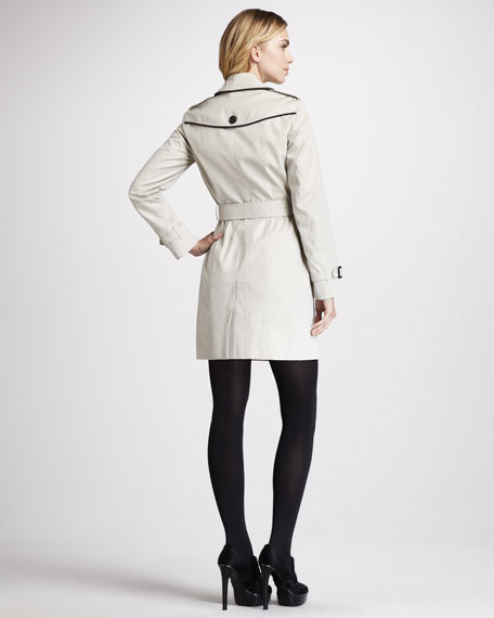 Leather-Trim Gabardine Trenchcoat