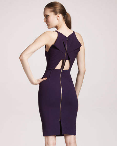 Mordecai Cutout-Back Dress, Deep Purple