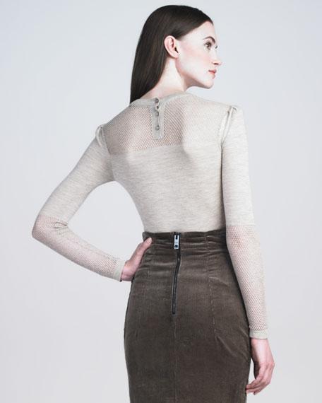 Mesh-Detail Knit Top