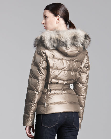 Fur-Hooded Metallic Belted Puffer Jacket