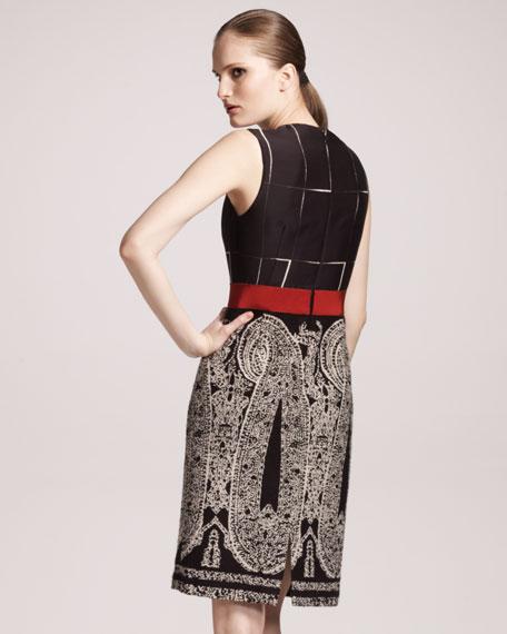 Paisley-Skirt Sheath Dress