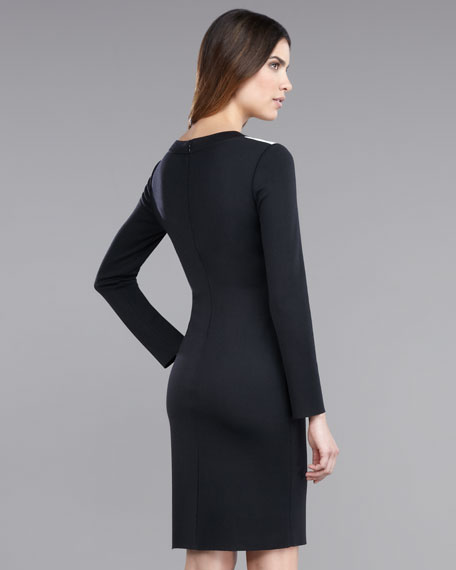 Long-Sleeve Milano Knit Colorblock Dress