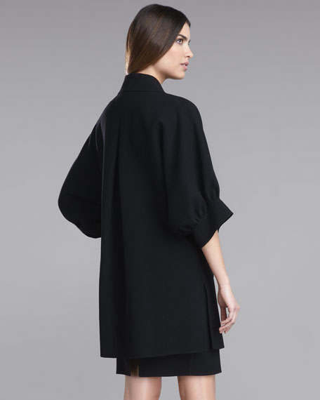 Double-Faced Crepe Batwing Coat