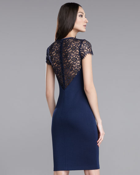 Lace-Sleeve Shimmer Milano Knit Dress