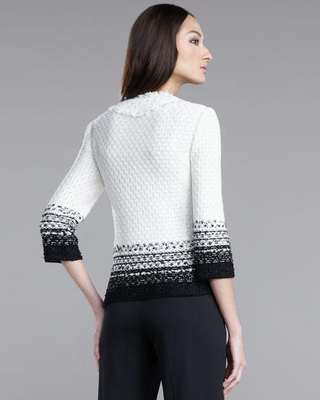 Hand-Knit Tweed Fringe Jacket