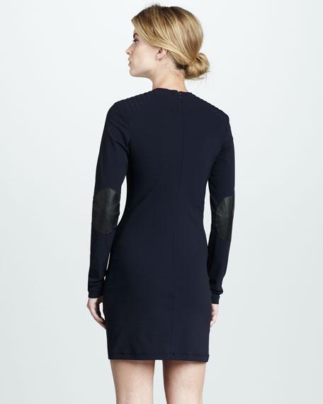 Leather-Elbow Long-Sleeve Dress