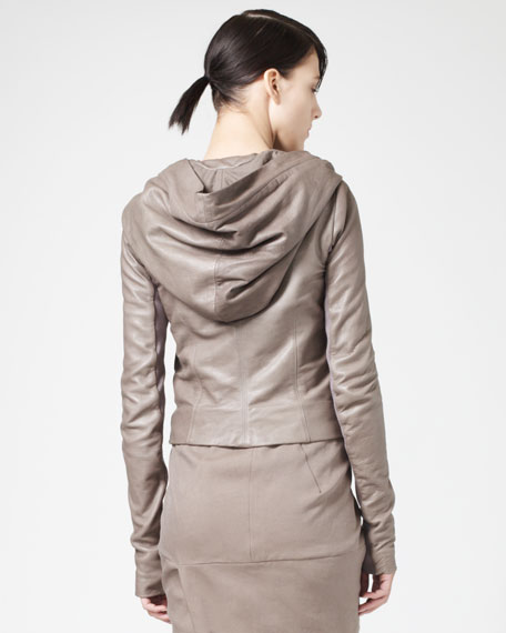 Hooded Leather Biker Jacket, Dust