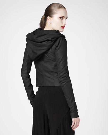 Hooded Leather Biker Jacket, Black