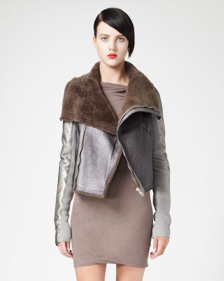 Metallic Shearling Aviator Jacket