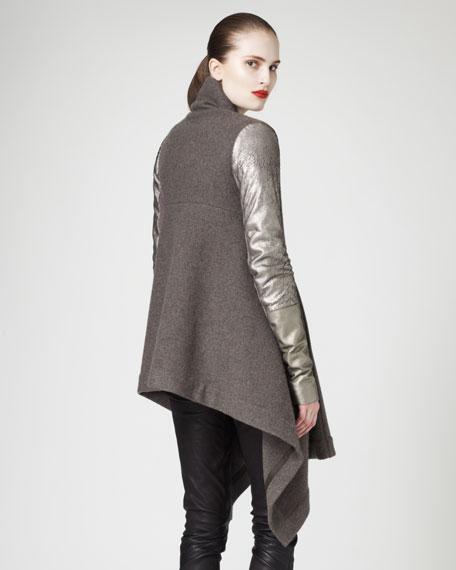 Long Leather-Sleeve Jacket