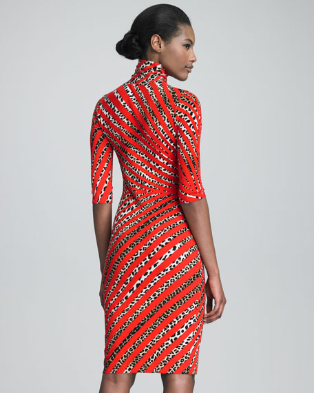 High-Neck Printed Dress