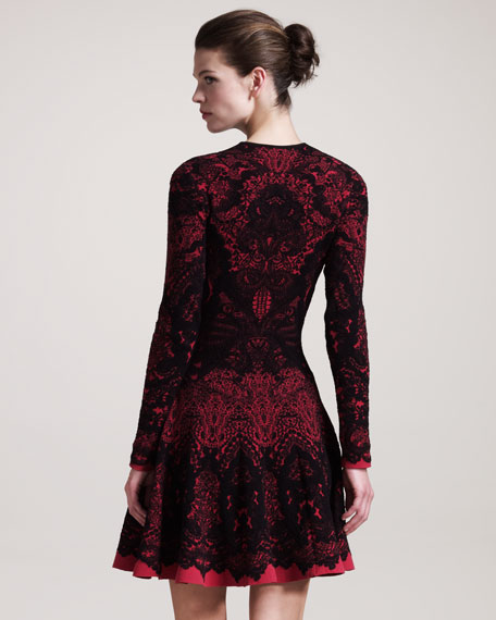Printed Intarsia Long-Sleeve Dress