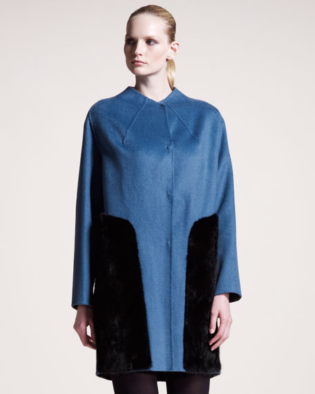 Mink-Inset Cashmere Coat