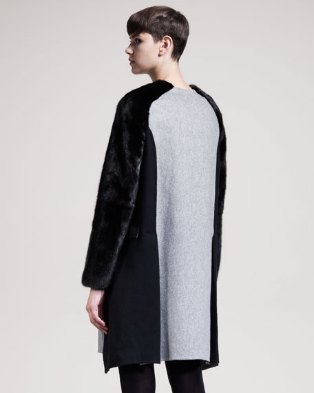 Collarless Mink-Sleeve Coat