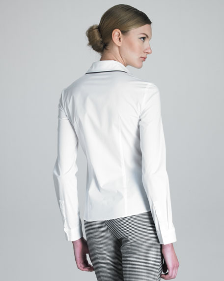 Button-Front Shirt with Piping Trim