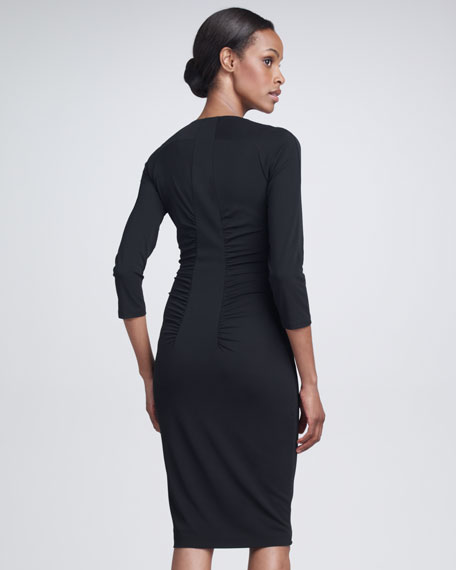 Ruched Jersey Dress, Black