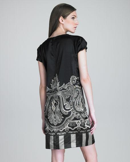 Pleated Cap-Sleeve Tunic Dress