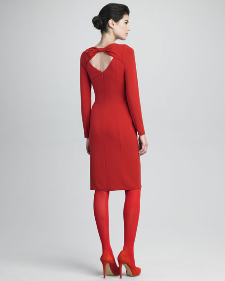 Long-Sleeve Dress With Keyhole Back