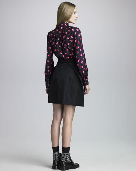 Back-Pleat A-Line Skirt