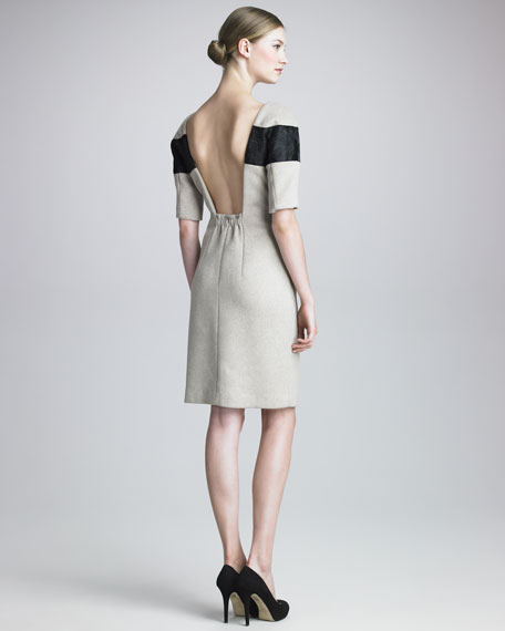 Calf Hair-Striped Woolen Dress