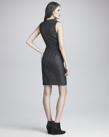 Plunging-Neck Metallic Dress